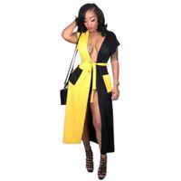 cardigan abierto amarillo al por mayor-High Street Sexy Cardigan largo verano cuello en V profundo manga corta Casual punto abierto mujeres negro amarillo Splice Sash Pocket CoatY109