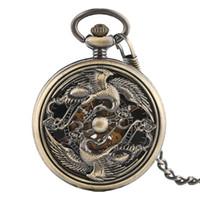 hohle uhren selbstaufzug großhandel-Bronze Vintage Phoenix Hollow automatische selbstaufziehende mechanische Taschenuhr einzigartige Anhänger Kette Uhr Geschenke für Männer Frauen