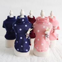 ropa yorkie al por mayor-Ropa para perros de invierno Cuatro pies mascota ropa de pareja Chiwawa Yorkie Bomei Dot camiseta con capucha 18AW03