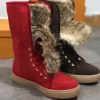 siyah topuk topuk ayakkabıları toptan satış-Kadın ayak bileği çizmeler Kürk Tasarımcı Kovboy Çizmeleri Lüks Süet platformu topuklu ayakkabı kestane siyah gri mavi pembe tasarımcı kar botları