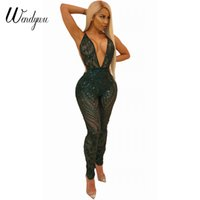 Wholesale Halter Mesh Jumpsuit - Wendywu 2018 New Sexy Deep V-Neck Halter Backless Green Sequined Mesh Bodycon Long Jumpsuit