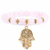 perlen rosa armband großhandel-Naturstein Rosenquarz Perlen Armband Boho Golds Überzogene Hand Charme Armbänder Für Frauen Männer Buddha Yoga Schmuck Großhandel