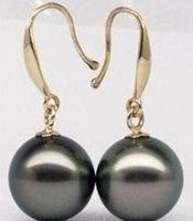 12mm Tahitian Black Peacock Sea Shell Pearl Sterling Leverback Earrings