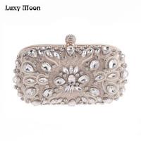 ingrosso frizione in rilievo in perle di perline-Luxy Moon Borse da sera strass Diamond Perle Beaded Wedding Clutch Borse da donna Borse Portafogli da sera Clutch Bag bolsa
