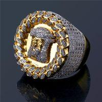 ingrosso vendita di anello di diamanti placcato oro-Anelli di Hiphop Jesus placcati oro per gli uomini di alta qualità di marca Hip Hop Cubic Zirconia anello pieno di diamanti Ice Out gioielli vendita calda