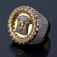 venda de anel de diamante banhado a ouro venda por atacado-Banhado A ouro Hiphop Jesus Anéis Para Os Homens Top Quality Marca Hip Hop Cubic Zirconia Anel Diamante Completo De Gelo Para Fora de Jóias de Venda Quente