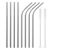 "304 Stainless Steel Drinking Straws 8.5""  9.5""  10.5"" Bent and Straight Reusable Drinking Straws Bar Tools"