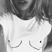 Wholesale Big Tits - 2017 New Womens T shirt White Tit Tee Breast Printed T-shirt Emoji Tees Street Boob Harajuku Womens Tshirt Plus big size S-3XL