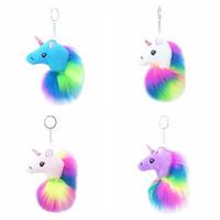 Wholesale cartoon cars decoration for sale - Unicorn keychain Car Pom Pom KeyChains Bag Charms plush Key ring bag Pendant unicorn Keyring cartoon Key chain Party Favor GGA1038