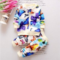 Wholesale girls mandarin collar - Baby Girls Colorful Butterfly Suit Kids Full Sleeves Jacket And Pants Clothes Suit Fashion Autumn Children Leisure Clothing Set