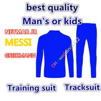 Wholesale Kids Red Coats - Best quality 2017 18 HAZARD KUN AGUERO G.JESUS ROBBEN tracksuit Griezmann coat HIGUAIN NEYMAR JR training suit kids boys soccer jersey
