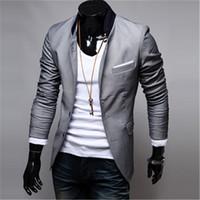 ingrosso rivestimento elegante casuale di mens casuale-New Fashion Trend Uomo Abiti Blazer Uomo Abbigliamento casual Uomo Giacche Cappotti Slim Fit Elegante Cool Grigio Nero Rosso Taglia M-3XL