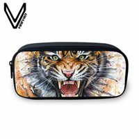 ingrosso portafogli scolastici-VEEVANV New Pencil Case Women Makeup Bag Large Wallets Tiger Image 3D Printing Bag Fashion Animal School Storage Pouch for Boys