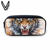 bolsitas para lapices al por mayor-VEEVANV Nuevo Estuche de Lápiz Bolsa de Maquillaje de Las Mujeres Carteras Grandes Tiger Image 3D Impresión Bolsa Moda Animal School Storage Pouch para Niños