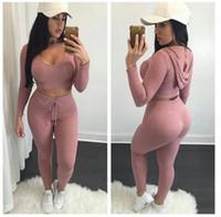 ropa de punto al por mayor-Eur Fashion Sexy Crop Top con Leggings Pantalones 2 Pcs \ Set Ropa de punto de alta cadera sólida Chándales