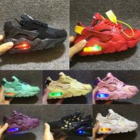 erkek ayakkabıları yanıp sönen ışıklar toptan satış-Flaş Işık Hava Nike Air Huarache Çocuk Koşu Ayakkabıları Sneakers Bebek Çocuk Huaraches huraches Tasarımcı Hurache Rahat Bebek Erkek Kız Eğitmenler