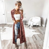 ingrosso donna trincea calda-Trench coat in velluto Autunno Inverno 2018 Fashion Luxury Long Cappotti Donna Kimono Cardigan Plus Size Warm Lungo Trench Outwear