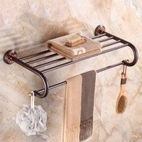 bronz havlu toptan satış-Lüks Yağ Ovuşturdu Bronz Banyo Havlu Raf Havlu Askısı Tutucu Nefis Oyma Tabanı