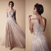 Wholesale maternity light gray dresses online - 2019 Modern Prom Dresses Sexy One Shoulder A Line Split Side Sequin Long Evening Gowns Custom Made Silver Party Dress BA7859