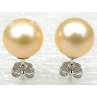 Wholesale golden akoya pearls - New 14K white Natural AAA++ 8-9mm perfect round golden pink akoya stud pearl earring