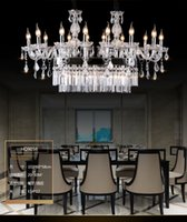 Wholesale Green Table Restaurant - Modern Design K9 Crystal Chandelier Hotel Restaurant Dinging Room Table Top Chandelier Lighting with rectangular Crystal Chandelier Light