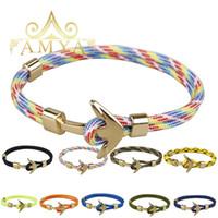 goldkette anker armband großhandel-Gold Anker Armband Multilayer Seil Kette Paracord Armband für Frauen Männer Freundschaft Geschenk