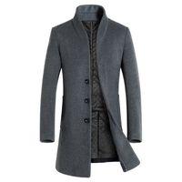 yün ceketi yaka yaka toptan satış-2018 erkek Ince Yün Karışımı Düz Renk Rahat Iş Standı Yaka Yün Palto / Erkek Ince Rüzgarlık Ceket Erkekler ceketler