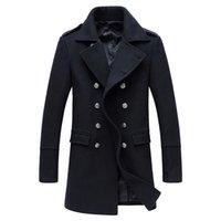 abrigo de lana de corea al por mayor-2018 hombres de alta calidad larga 50% lana gabardina Corea hombres Slim otoño gabardina Parkas abrigo hombre invierno XD363