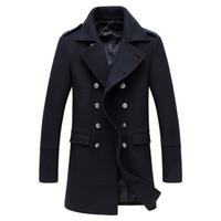 vala korea venda por atacado-2018 Homens de Alta Qualidade Longo 50% Trench Coat De Lã Coréia Homens Magro Outono Trench Coat Parkas abrigo hombre invierno XD363