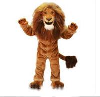 mascote rei venda por atacado-2018 hot sale Lion Mascot Costume Adult Size Animal Selvagem Masculino Rei Leão Partido Do Carnaval Cosply Kit Mascotte Terno EMS NAVIO LIVRE