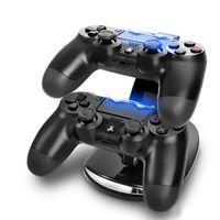base cuna usb al por mayor-DUAL Nueva llegada LED USB ChargeDock Base de acoplamiento Cuna Soporte para inalámbrico Sony Playstation 4 PS4 Cargador controlador de juegos