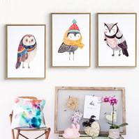 Wholesale Kids Animal Canvas Art - Cute Cartoon Animals Oil Paintings Owl Canvas Art DIY Posters Pop Art Wall Paint by Number Nursery Kids Decor No Frame
