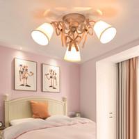 luces de techo de dormitorio contemporáneo al por mayor-contemporáneo La nueva lámpara LED para niños, sencilla, moderna, romántica, de estilo amoroso, cálida sala de bodas, lámparas de techo