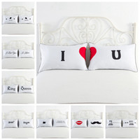 Wholesale choice print - Simple Styles White Pillowcase Bedding For Lovers Letters Pattern Pillow Cover Home Textiles 21 Choices Optional 50*75cm NNA403