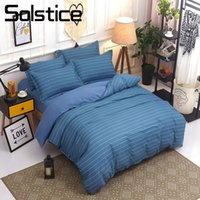 Discount beige comforter sets - Solstice Home Textile Blue Stripe Bedding Sets King Queen Twin Linen Suit Kid Adults Duvet Comforter Cover Pillowcases Bed Sheet