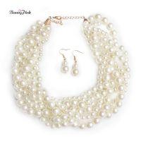 имитационные колье оптовых-Banny Pink Elegant Bib Imitation Pearls Choker Ожерелья для женщин Handmade Multi Row Strands Choker Collar Fashion Jewelry Set