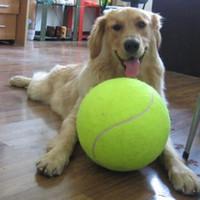 desenhos animados do trem amarelo venda por atacado-Yvyoo 9.5 polegadas cão bola de tênis gigante pet brinquedos para cachorro mastigar brinquedo assinatura mega bola de brinquedo para suprimentos de treinamento do cão 1 pcs d09