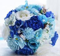 bouquet de fleurs roses bleues achat en gros de-Cadeaux de mariage ange éternel, roses bleues et blanches, bouquet de fleurs, bouquet de mariée