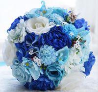 ingrosso nozze delle rose blu-Regali di nozze eterno di angelo, rose blu e bianche, mazzo di fiori, mazzo della tenuta della sposa