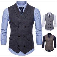 ingrosso uomini sottili della maglia di stile-Best selling explosions gilet da uomo British and business style moda Slim casual lattice vest 3 colori