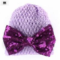 Wholesale bonnet hat for baby resale online - Photography Baby Girls Props Enfant Beanie Girl Caps Bonnet Bonnets ROMIRUS Hat Hats Newborn for Sequined Solid Cap Bowknot