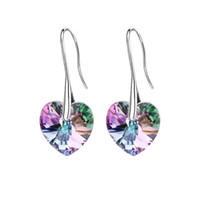 Wholesale Swarovski Earrings White Gold - Crystal heart pendant eardrop earrings Made with SWAROVSKI ELEMENTS for 2018 Mother's Day women gift
