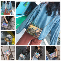 Wholesale clear transparent handbags totes online - Women Handbags Laser Holographic Jelly Clear Transparent Bags Girls cross bags Pu Leather PVC Totes Beach Bag Shoulder Bags GGA1185