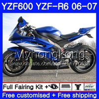 kit de carenado yamaha r6 azul al por mayor-Cuerpo + tanque para YAMAHA YZF R6 YZF 600 YZFR6 azul brillante caliente 2006 2007 Marco 233HM.32 YZF600 YZF600 YZFR6 06 07 06 07 YZF R6 carenados Kit