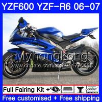 yamaha yzf r6 blau großhandel-Karosserie + Tank für YAMAHA YZF R 6 YZF 600 YZF-R6 glänzend blau heiß 2006 2007 Rahmen 233HM.32 YZF-600 YZF600 YZFR6 06 07 YZF R6 06 07