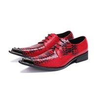 sapatos de jacaré vermelho venda por atacado-Vogue Vermelho italiano Mens Sapatos Formais Sapatos Sociais De Luxo Toe De Aço Mens Sapatos de Vestido De Couro Lace Up Jacaré