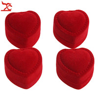 Wholesale heart shaped packaging boxes for sale - Group buy Mini Cute Red Carrying Cases Foldable Red Heart Shaped Ring Box For Rings Lid Open Velvet Display Box Jewelry Packaging Hot