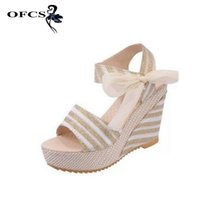 Wholesale White Wedges Bow - Summer wedges sandals size 35-40 Women Sandals female shoes women platform shoes lace belt bow open toe high-heeled