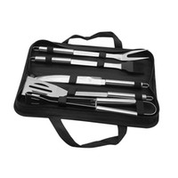 Wholesale bbq tool storage - 5pcs Set Portable Outdoor Stainless Steel Barbecue Shovel Fork Clip BBQ Grill Utensil Baking Cooking Tools Set with Storage Bag