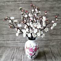 Wholesale Peach Wedding Bouquets - Artificial Flowers Spring Cherry Blossom Bridal Peach Decor Flowers Tree Bouquet Silk Fake Plum Home Party Decoration Wedding Decorative DIY